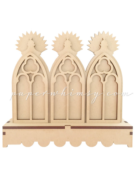 Gothic Window Triptych w Stand