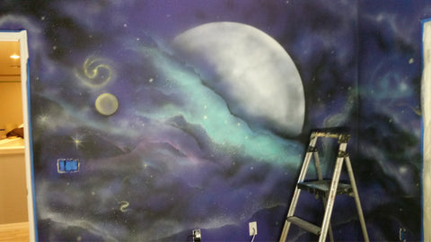 Space themed Mural in Kissimmee. FL. Working with TJ Colors LLC.
