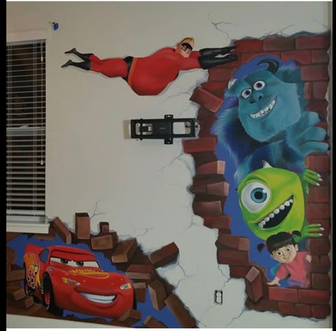 I painted the 3D Bricks for this collaborative Mural with TJ Colors LLC
