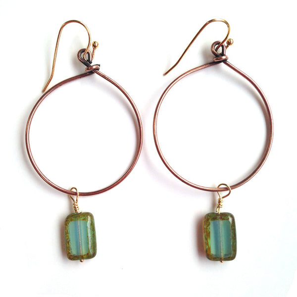 COPPER HOOP EARRINGS WITH CZECH GLASS - evamichele