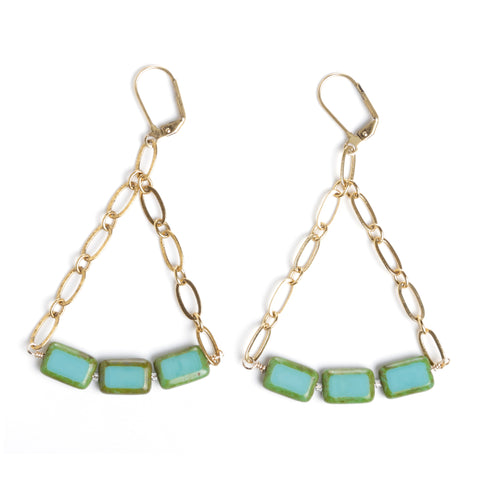 CZECH GLASS AND ANTIQUE GOLD TRIANGLE EARRINGS