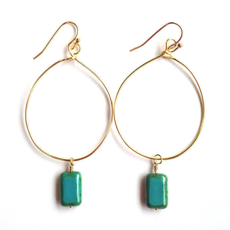 HANDMADE GOLD HOOPS AND CZECH BEADS