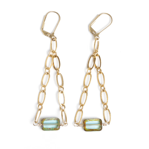 CZECH GLASS AND ANTIQUE GOLD EARRINGS