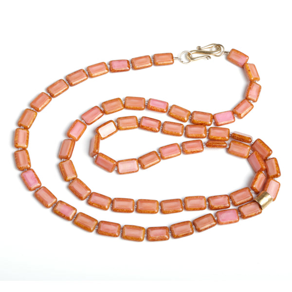 DOUBLE WRAP CZECH GLASS NECKLACE WITH GOLD VERMEIL