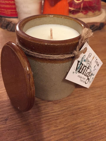 4 ounce soy candle in mini antique crock