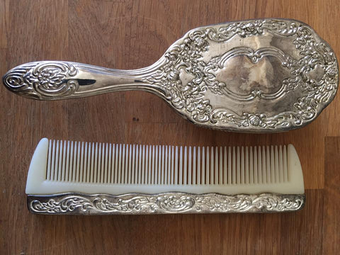 vintage silver plated brush and comb