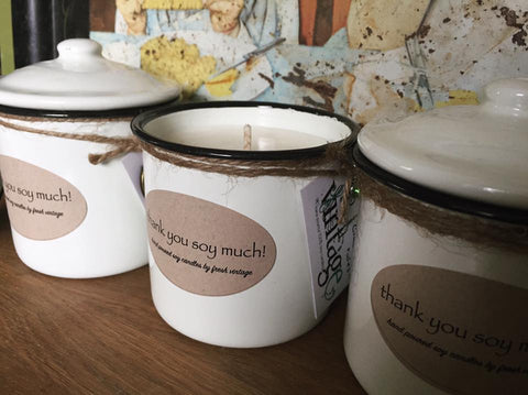 "10oz enamel pot soy candles ""thank you soy much"""