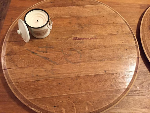 Hand crafted wine barrel lazy susan