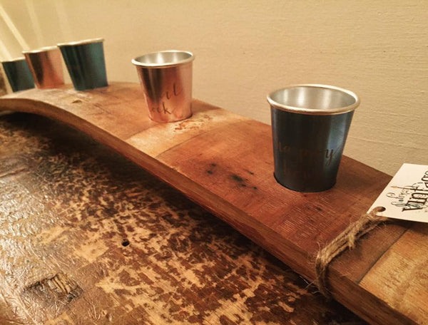 hand crafted wine barrel stave shot glass holder