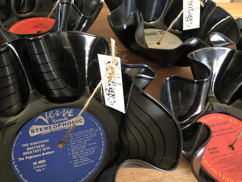 Hand crafted vintage vinyl record bowls