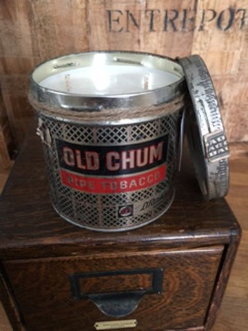 Hand poured 100% soy candle in vintage CHUM tin