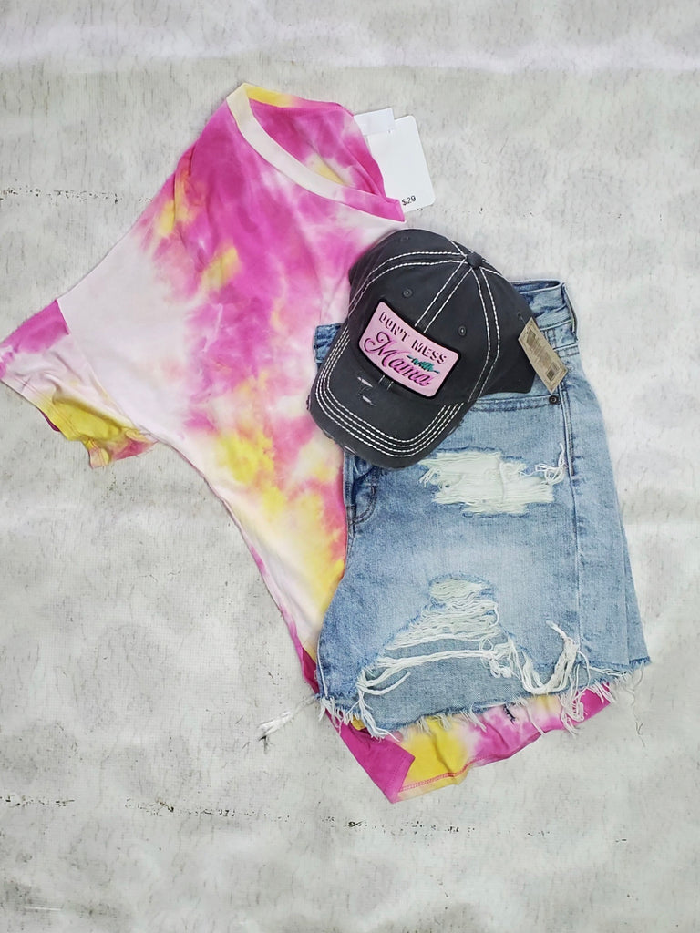 Pink and Yellow Tie dye shirt