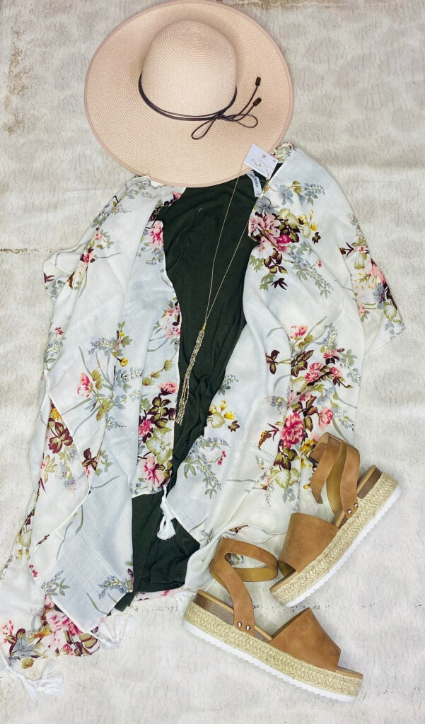 White Floral Kimono & Green sleeveless dress