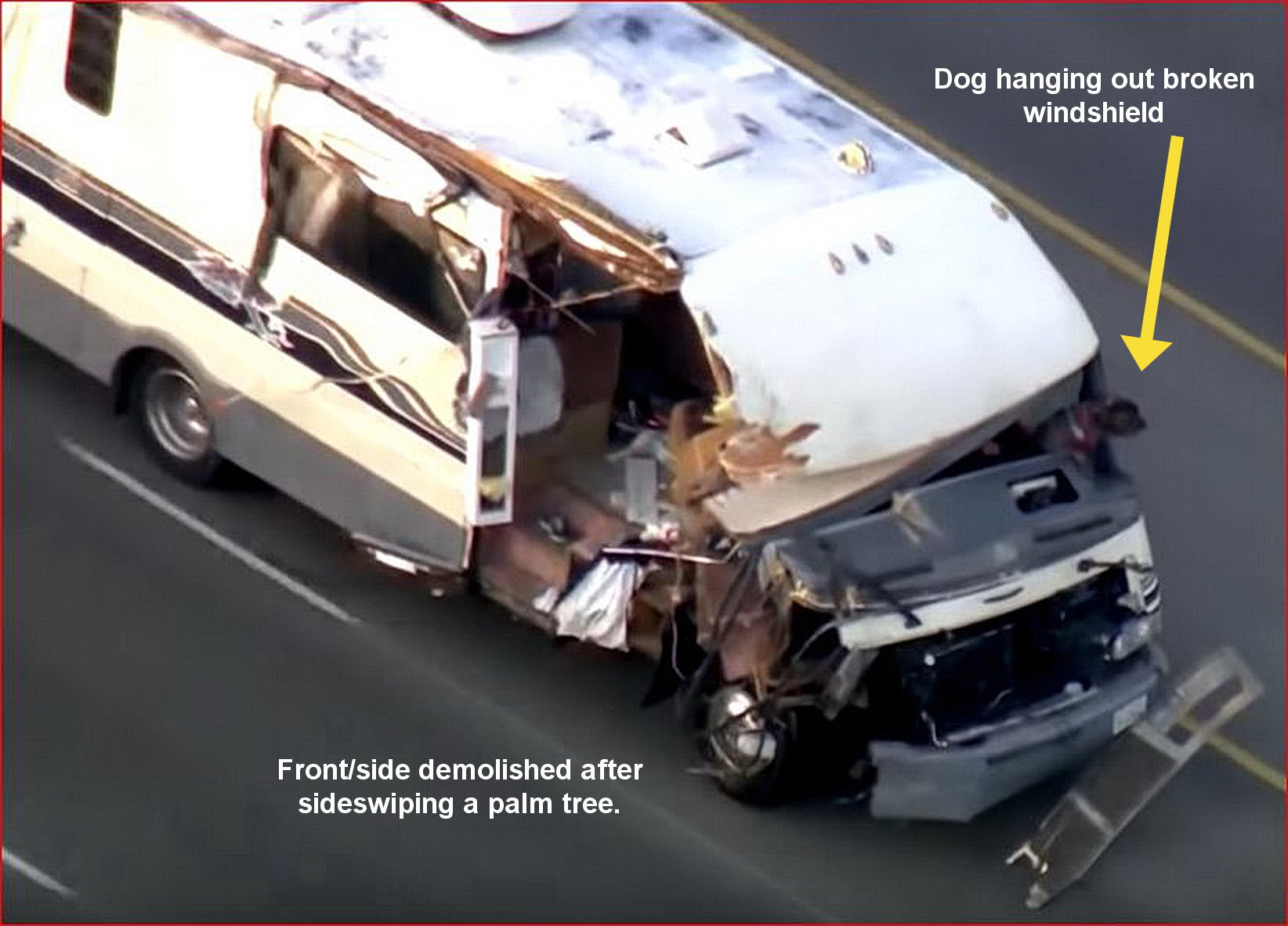 Motorhome disintegrates during high-speed chase