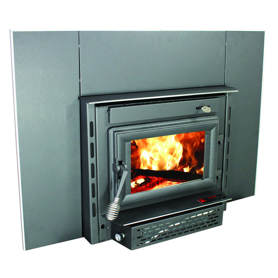 burning double blower insert sided wood fireplace with