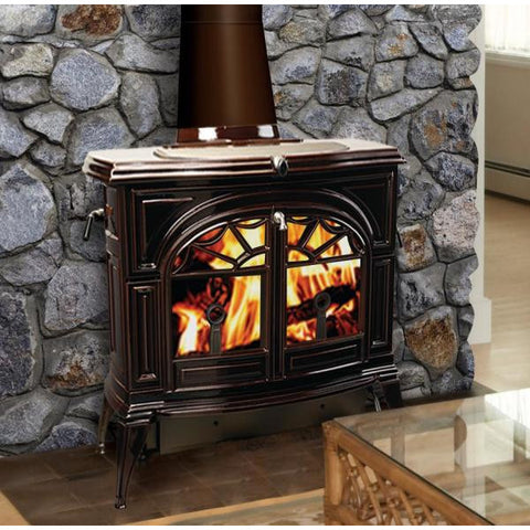 Vermont Casting Defiant Flex Burn Catalytic/ Non-Catalytic Wood Stove - Majolica Brown - Iron Wood Supply