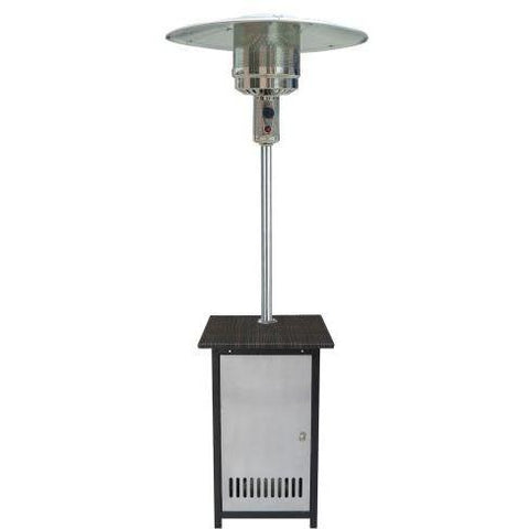 SS Patio Heater LP w/Wicker Stand - Iron Wood Supply