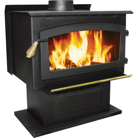 US Stove Company 2016EB Stove Pedestal Wood King EPA, Black - Iron Wood Supply