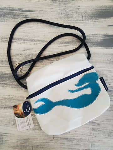 By the Bay Creations Retired Sailcloth Crossover Bag - Mermaid