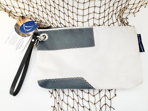 By the Bay Creations Retired Sailcloth Wristlet - Gray Accent