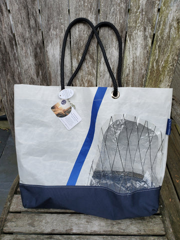 By the Bay Creations Retired Sailcloth Beach Tote  - White with See-Through Patch