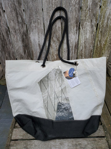 By the Bay Creations Retired Sail Beach Tote  - White with See-Through Patches, Black Fabric
