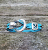 By the Bay Anchor Leather Bracelet  - Aqua