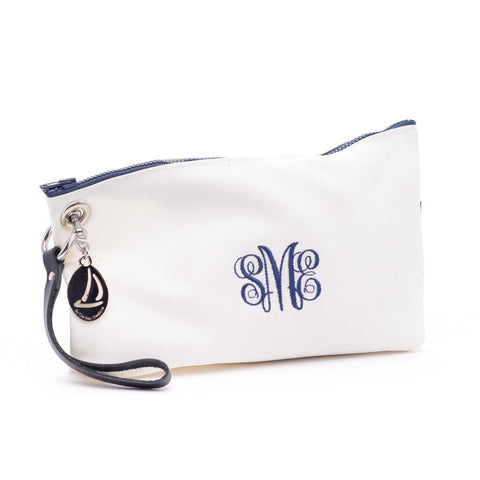 By the Bay Creations Retired Sailcloth Monogrammed Wristlet