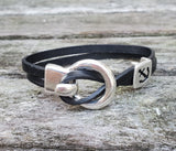 By the Bay Anchor Leather Bracelet  - Black
