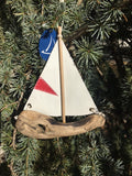 Driftwood Sailboat Ornament with grommets
