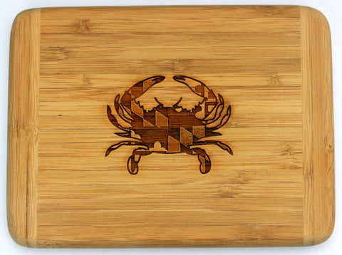 Laser Engraved Bar Board-MD Crab