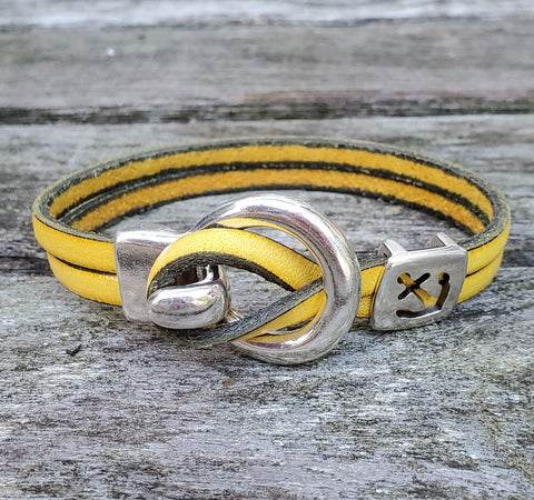 By the Bay Anchor Leather Bracelet  - Gold
