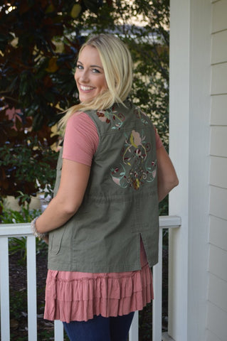 embroidered military vest addison mackenzie boutique