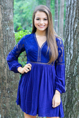 navy babydoll lace dress