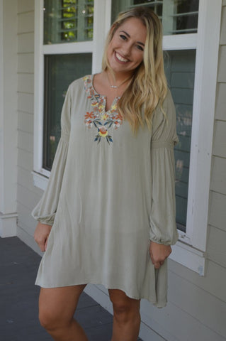 embroidered peasant dress addison mackenzie boutique
