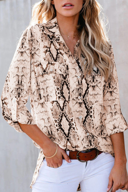Brown Wild Snake Print Shirt with Pockets
