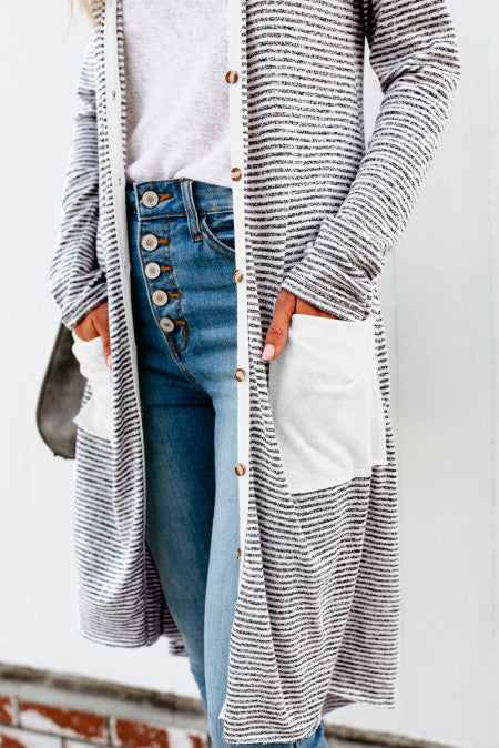 Long Striped Cardigan With Pockets