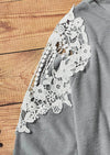 Super Soft Grey Lace Sleeve Top