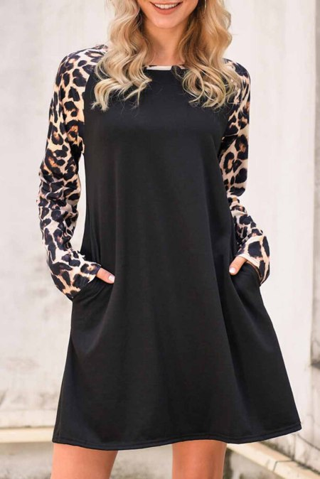 Black Leopard Dress with Pockets