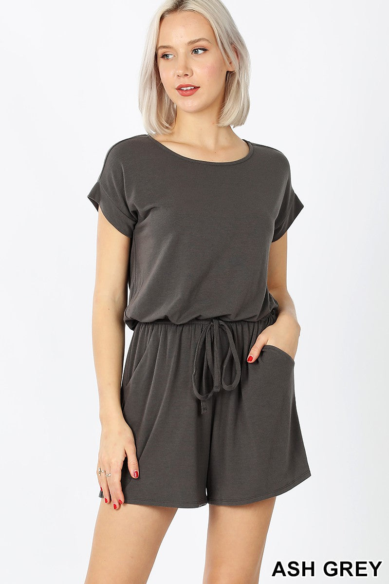 ASH GREY ROMPER WITH ELASTIC WAIST