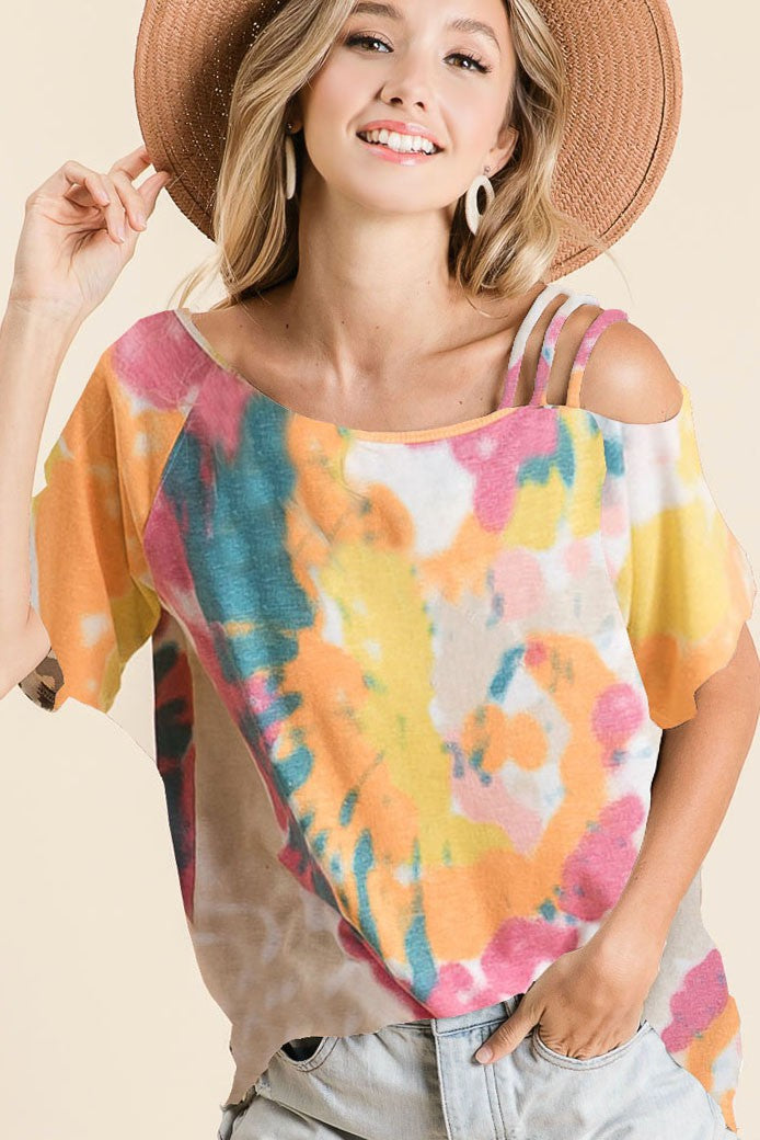 TIE DYE JERSEY KNIT STRAPPED ONE SHOULDER TOP