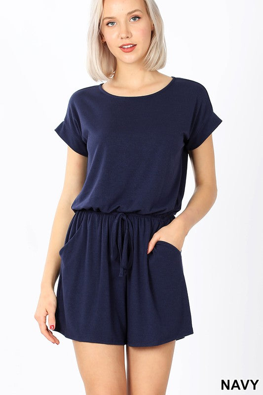 NAVY ROMPER WITH ELASTIC WAIST