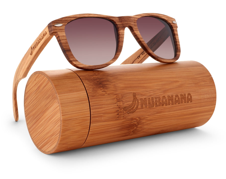 Nolies Special Edition Nubanana Zebra Wood Frame Sunglasses