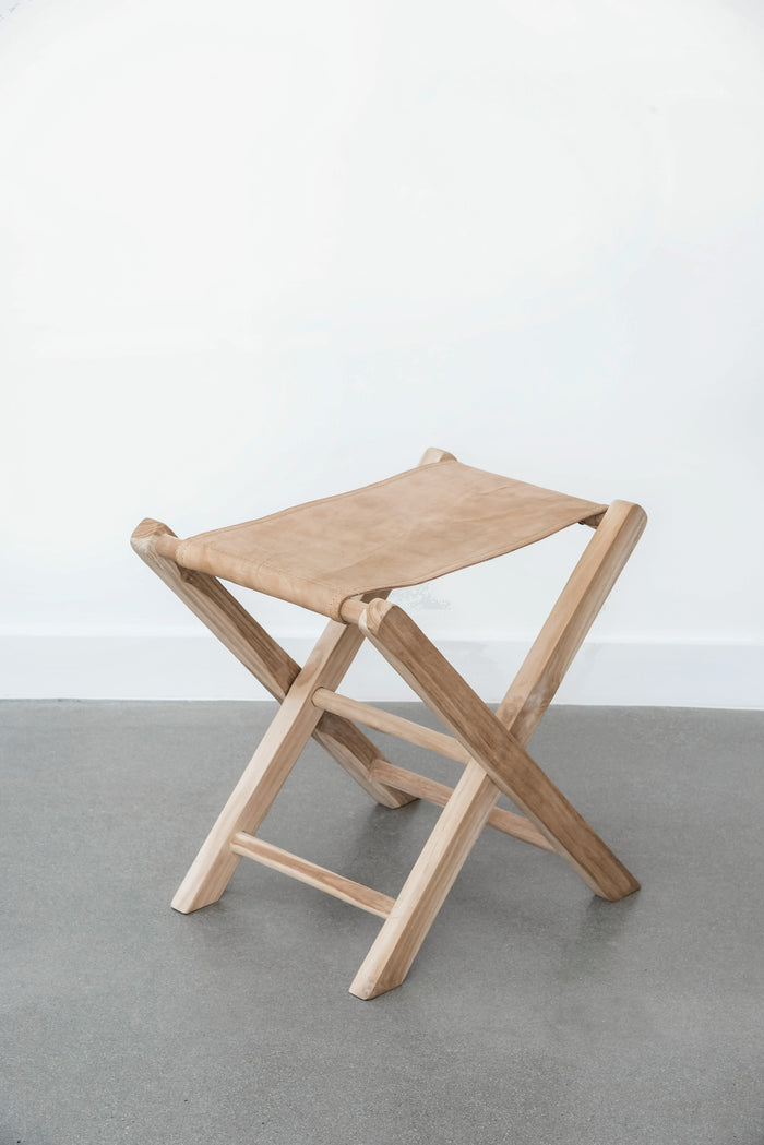Teak Leather Folding Stool - Saffron + Poe