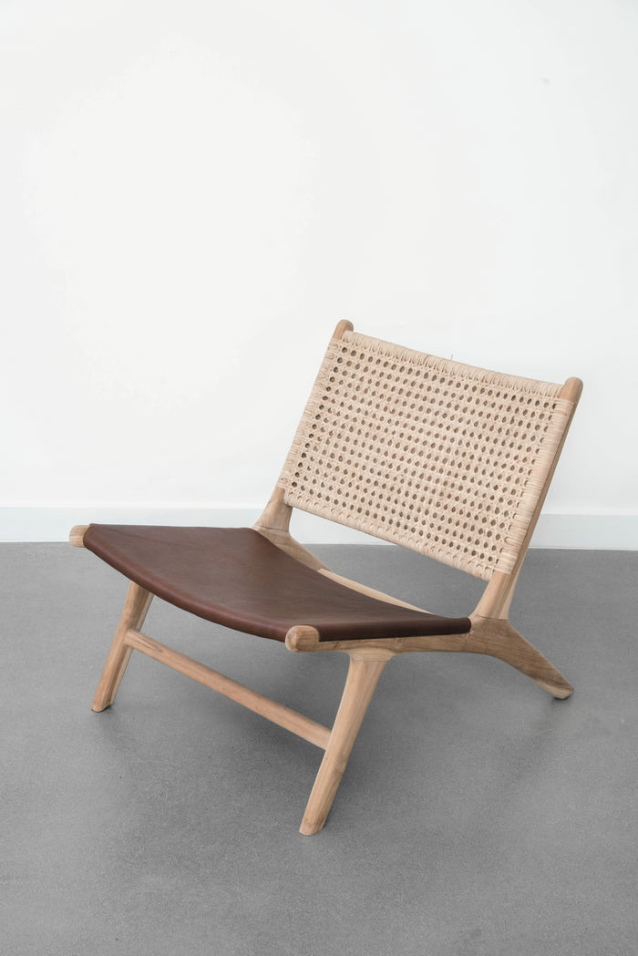 Rattan and Leather Lounge Chair - Saffron + Poe