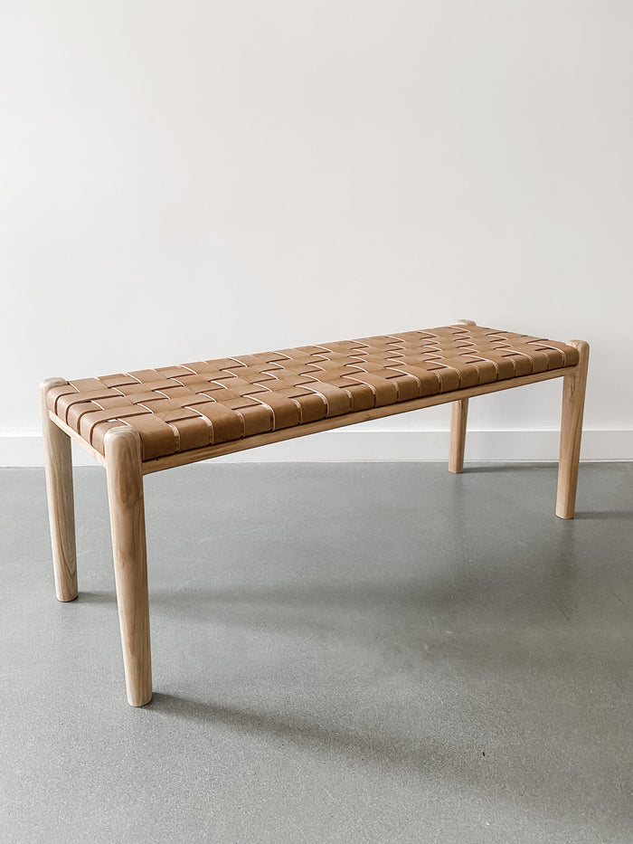 Woven Leather Strap Bench - Beige