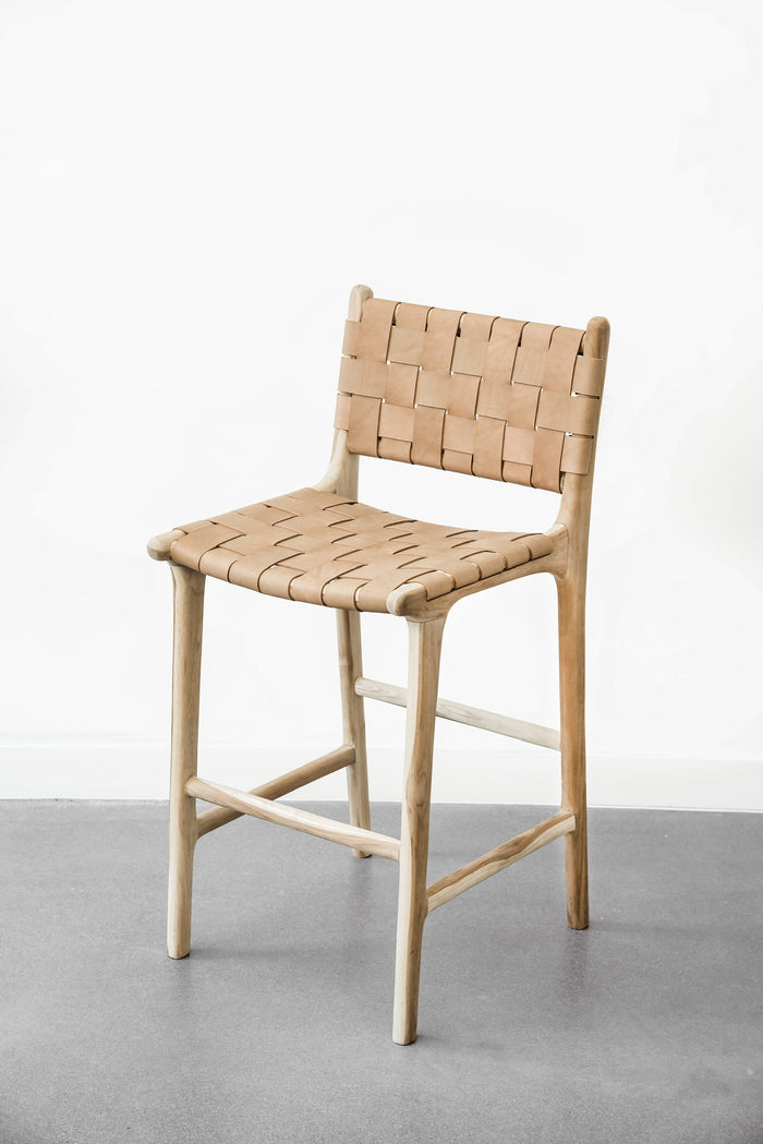 Woven Leather Strap Counter Stool - Beige - Saffron + Poe