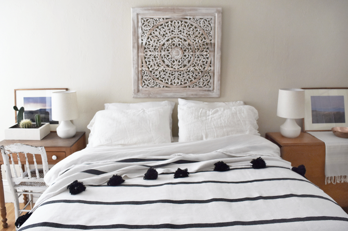 Moroccan Pom Coverlet - White with Black Stripes - SaffronAndPoe.com