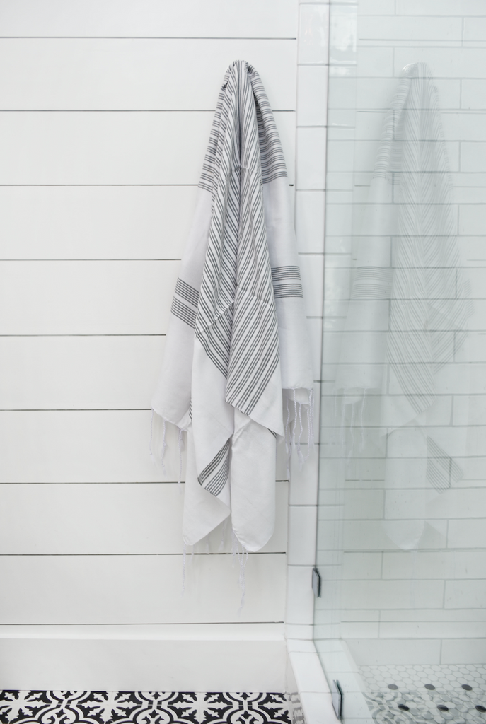 Hammam Towel - Grey + White Thin Stripe - SaffronAndPoe.com