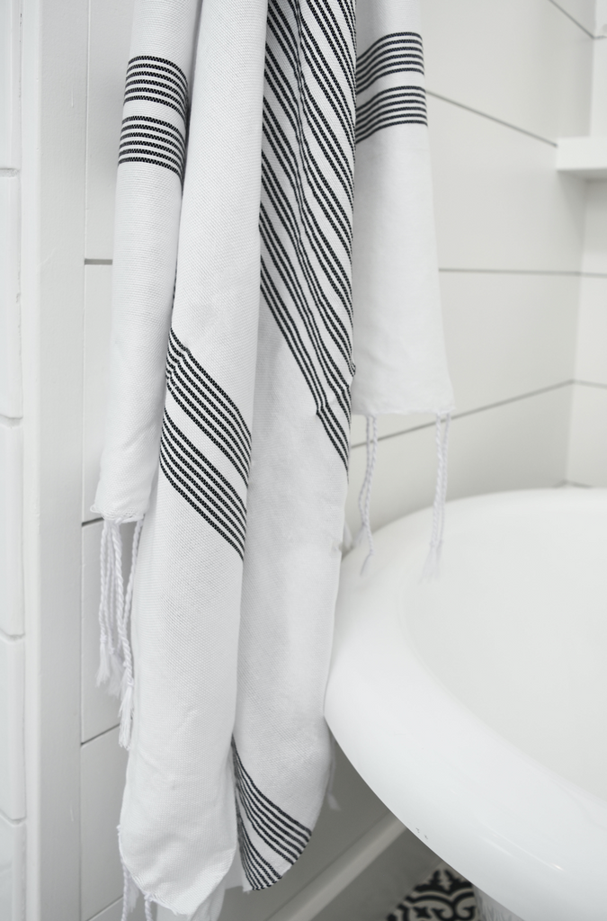 Hammam Towel - Black + White Thin Stripe - SaffronAndPoe.com